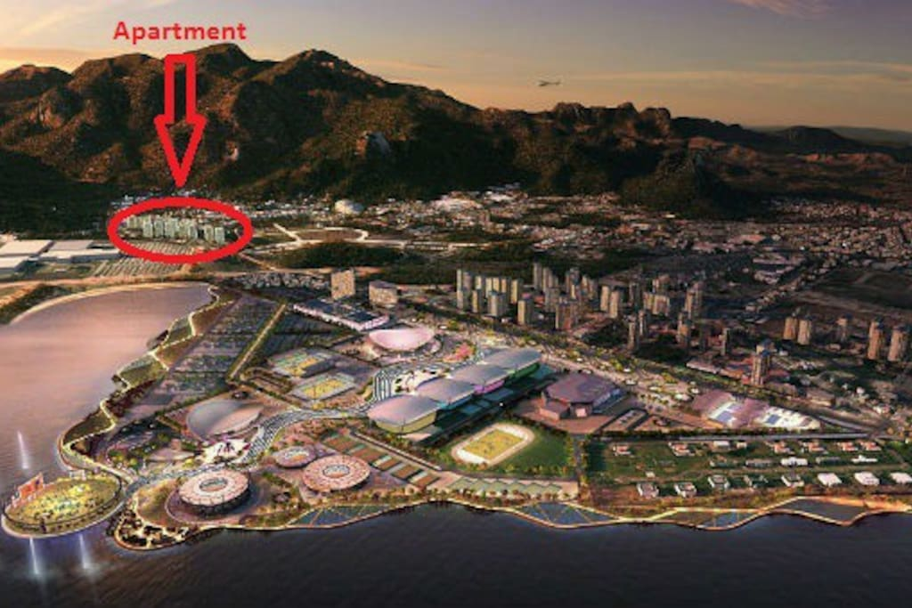 Location of the apartment,  Barra olympic park and Rock in Rio