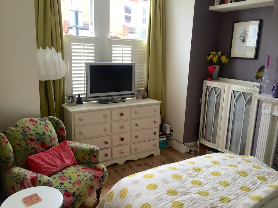 Bedroom 1 with TV and double bed