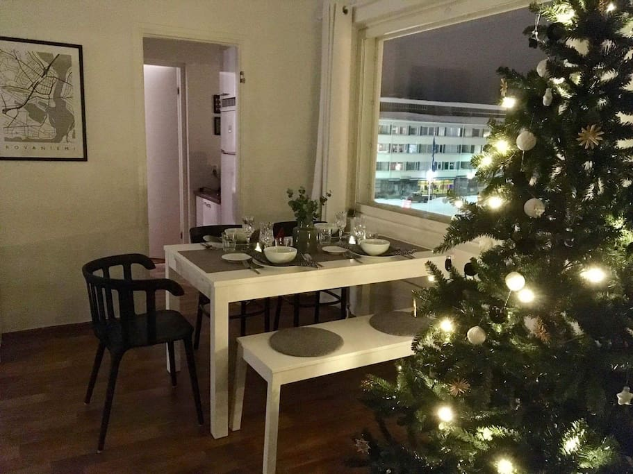 If you like to have dinner together, in my apartment it is easy. At the same time you can watch the sky, maybe you can even see nothern lights if you are lucky!