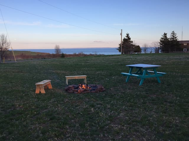 Fire pit with an ocean view