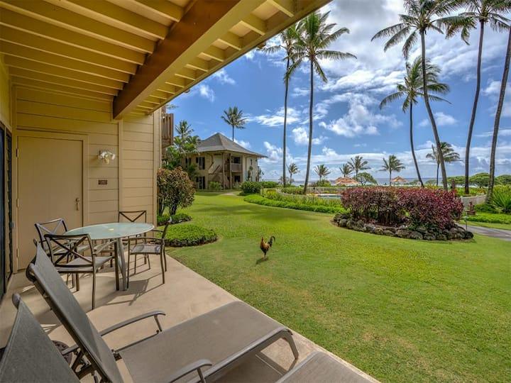 East Kauai Bliss w/Ocean View Lanai, WiFi, Ceiling Fans, Washer/Dryer+Kitchen–Kaha Lani 107