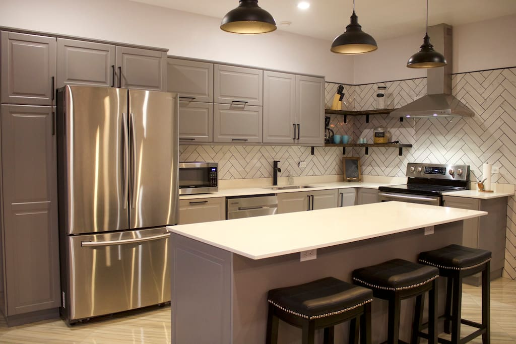 Modern kitchen with island seating