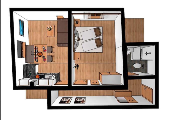 Modernes Apartment für 2-3 Personen