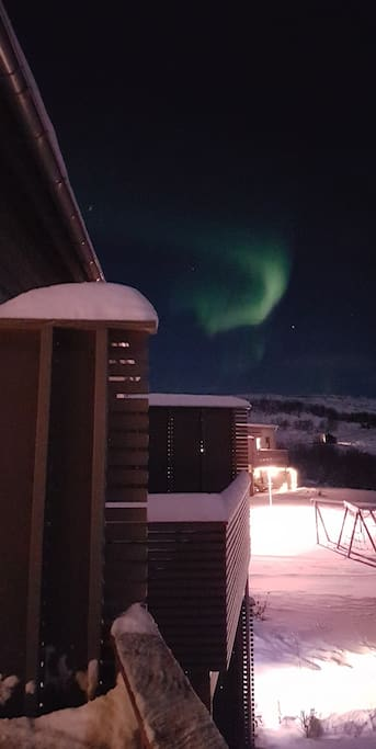Northern lights seen from the balcony. The picture is taken 31. Dec. 2017