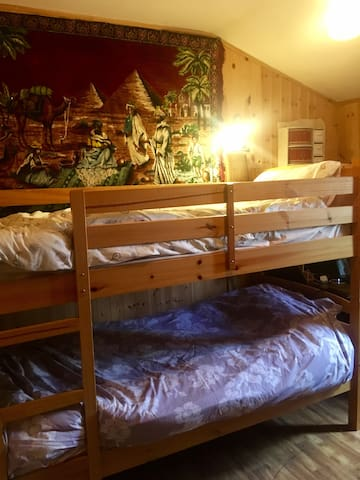 Welcoming and warm room with bunkbeds