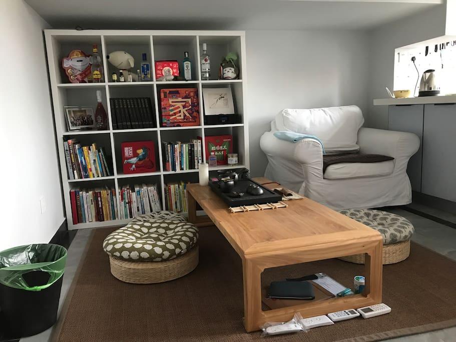 可以在这里窝着看书,看电影或者品茶