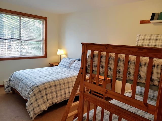 Our newly renovated bedroom (fall 2018) is a quiet and restful place to lay your head.  New bedding and pillows throughout, new queen mattress.