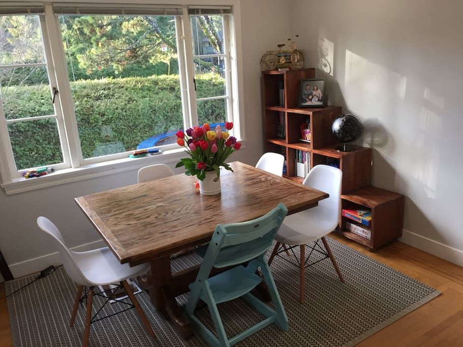 6 white chairs will be around the dining table. High chair is optional