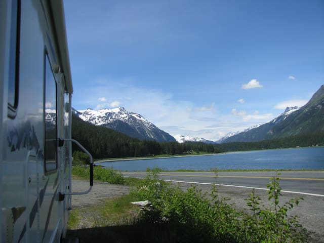 """""""Glamping"""", The Gathering Place RV water view"""