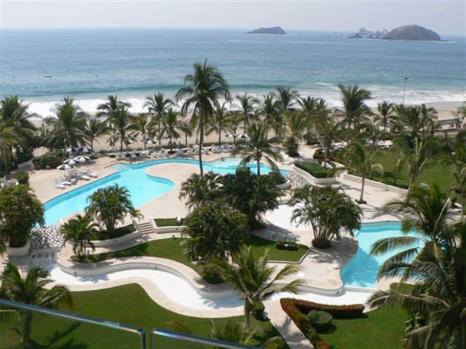 Big beach front pool.