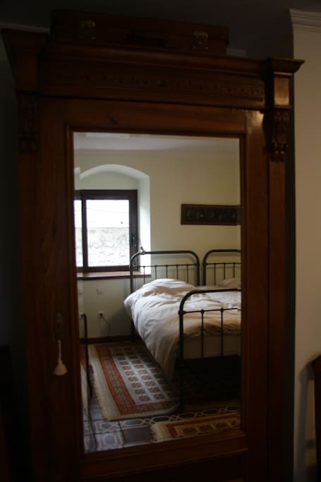 Beds in the big bedroom of the ground floor