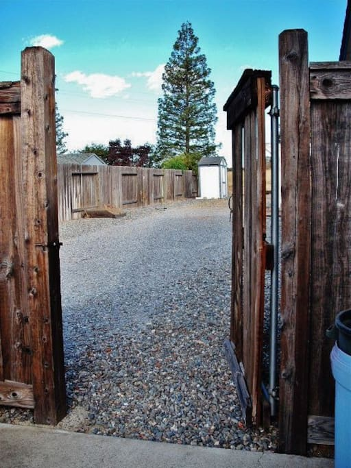 Gate that opens up to RV space.