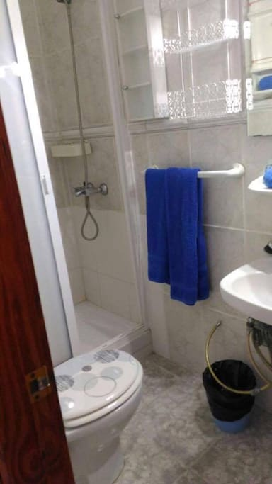 Toilet with big shower