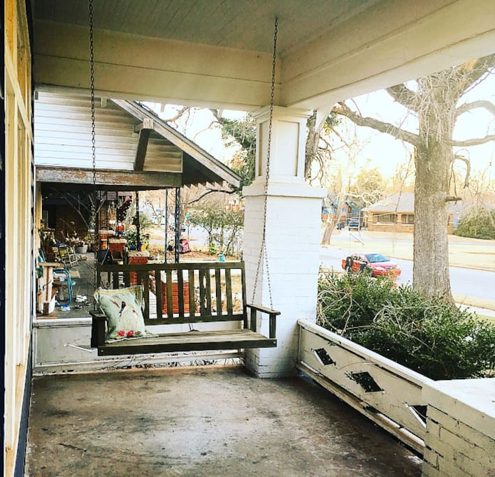 a big front porch and porch swing greet you when you arrive!
