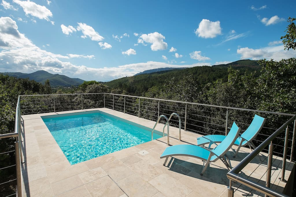 Breathtaking views over the mountains from the pool area