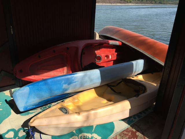 We provide you with a canoe and three kayaks to choose from for fun on the water