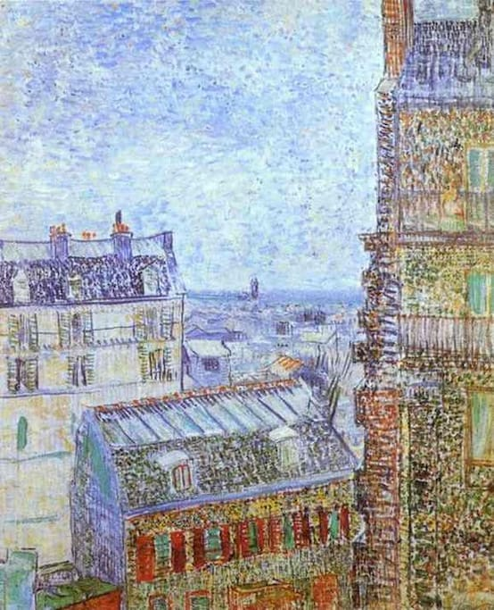 Roof view of my street paint by Van Gogh