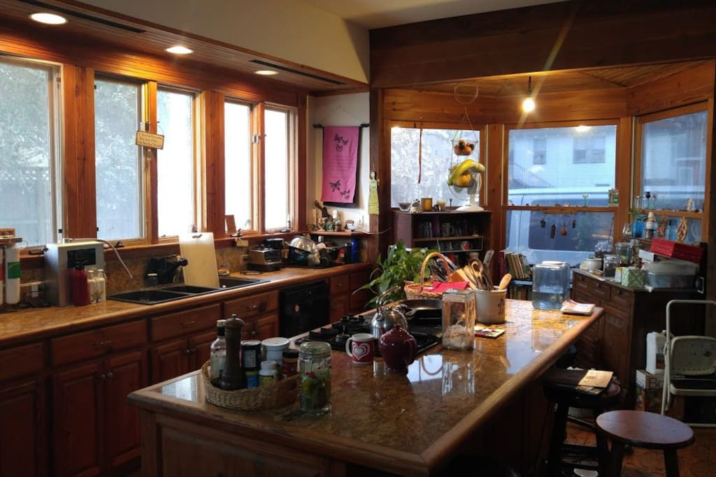 Large, bright kitchen.
