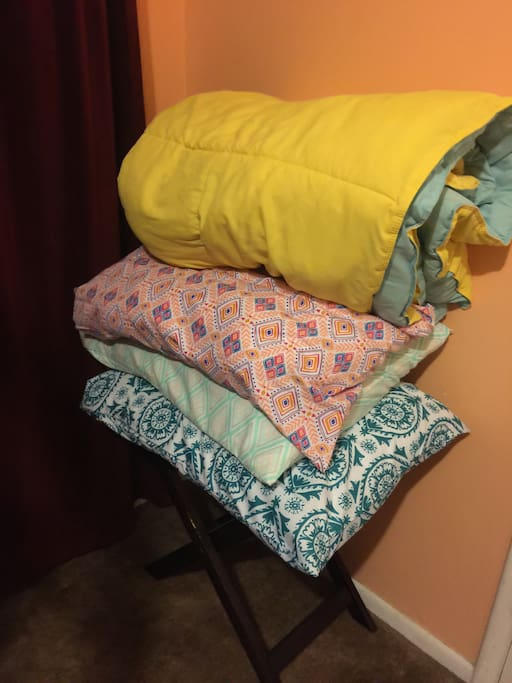 There are plenty of pillows, top sheets and comforters to choose from. Top sheets are in the the dresser and additional comforter in the closet.