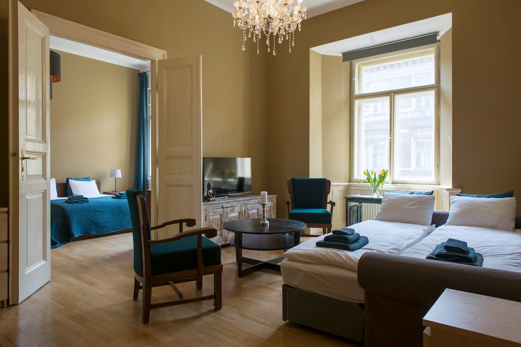 stylish apartment by the river in prague center. Black Bedroom Furniture Sets. Home Design Ideas