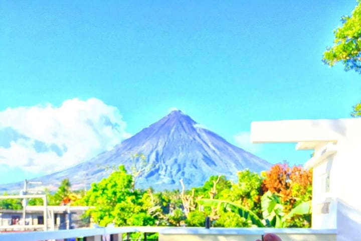 The amazing view of the Majestic Mt. Mayon from our Deck.  Perfect for launching your Drones.