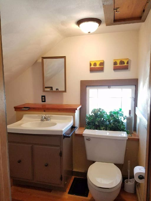 Private en suite half bath with new hardwood floors, large sink, toilet and plenty of shelves for storage (not pictured).