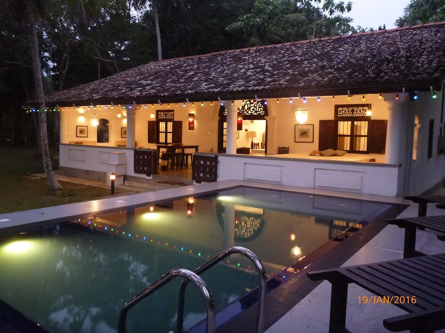 Cottage and Pool by night