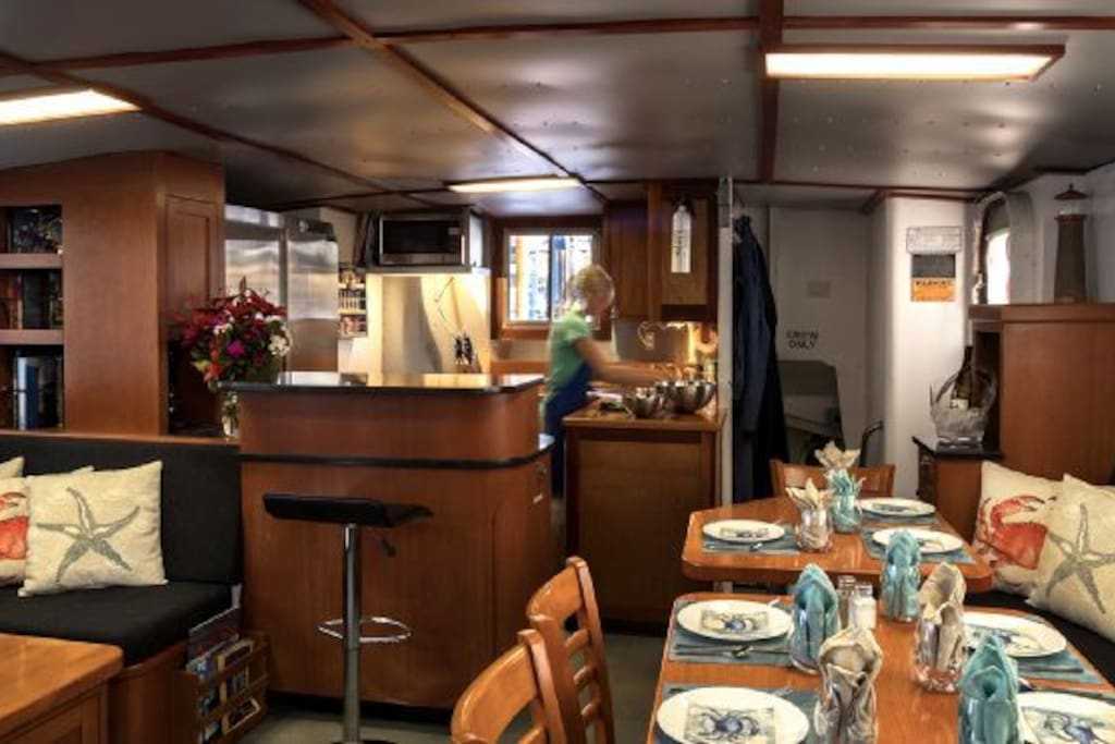 View of the galley and salon from the door that leads up to the pilothouse