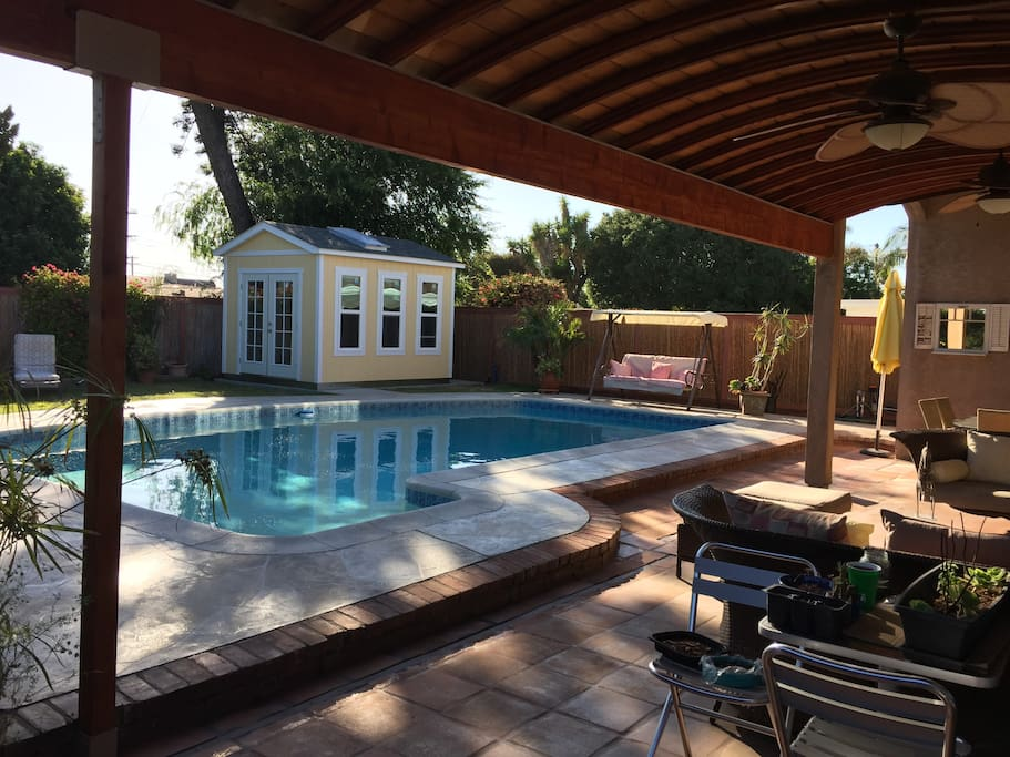 Tiny pool studio overlooking the solar heated pool!