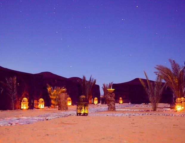 Luxury Sahara desert bivouac camp - Merzouga