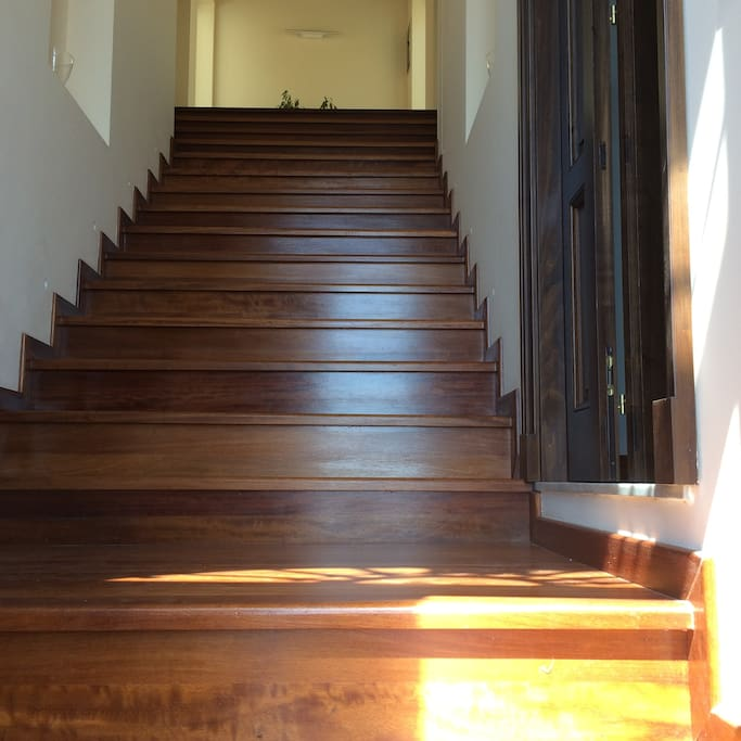 Entrance wooden stairs