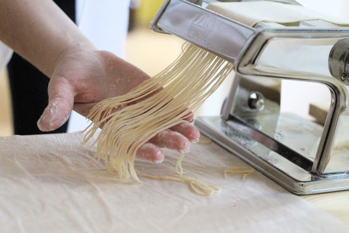 Cutting the Angel Hair with the machine
