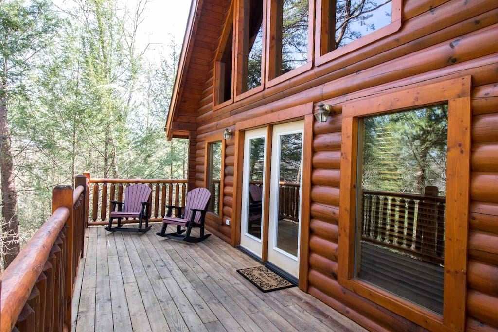Huge back porch is the perfect spot to take in the fresh mountain air!