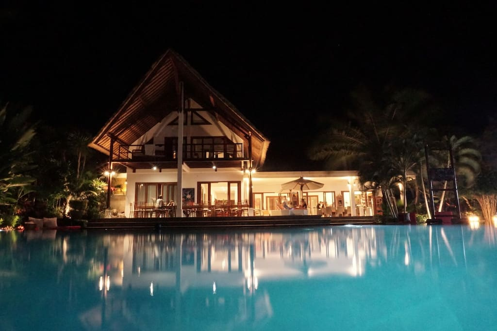 And the pool and villa by night