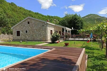 Amazing Stone house at Skadar lake with pool