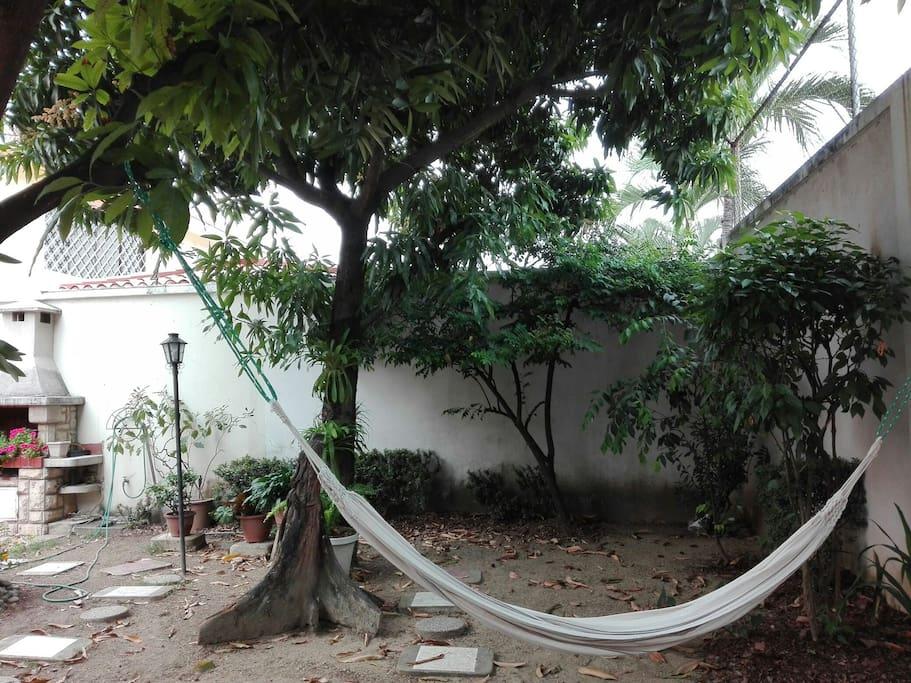 amplio espacio natural con arboles frutales y hamaca