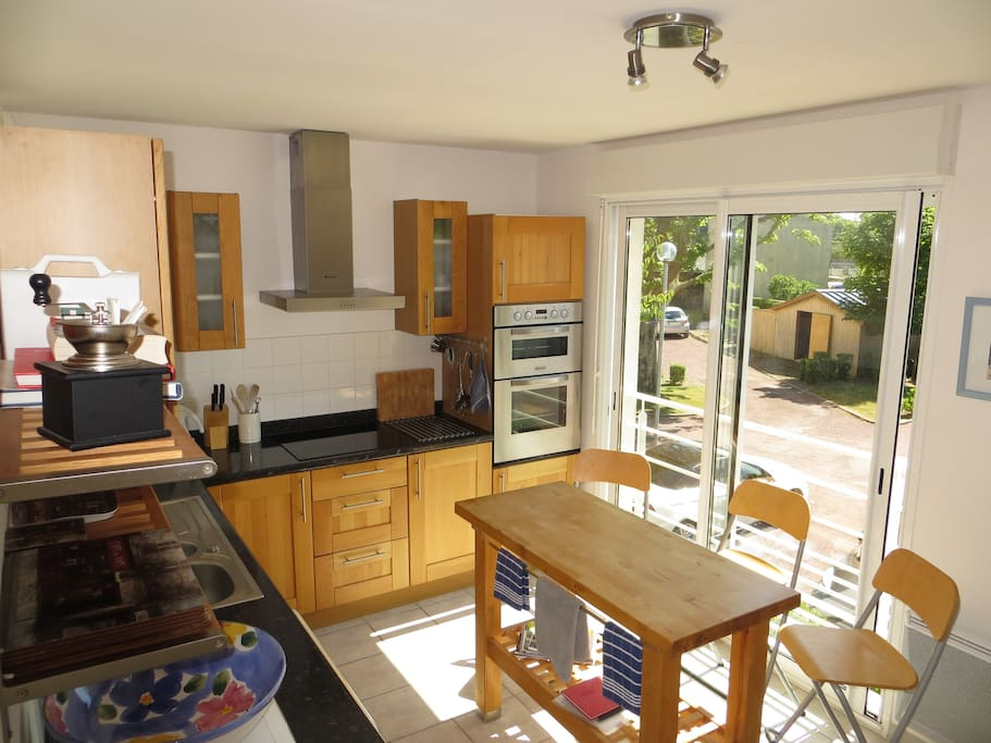 Kitchen overlooking private parking area