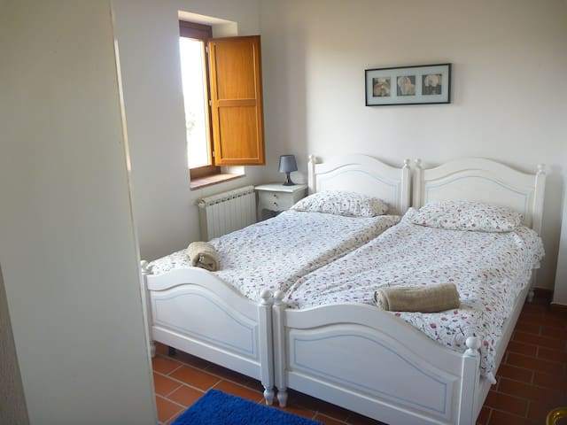Second bedroom with two separate beds; bright clean and airy