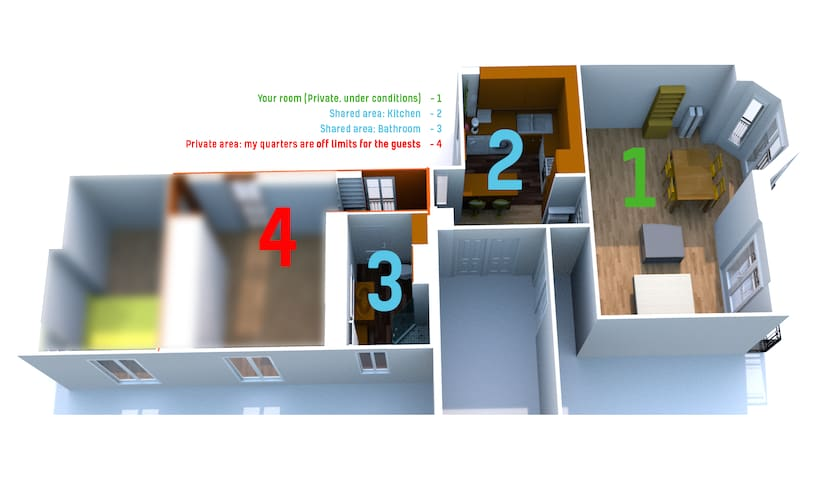 "On the right, the room ((1) with bay-window and balcony), in the middle ""up"" the shared kitchen (2), left the shared bathroom (3). My study and bedroom (4) are OFF LIMITS for guests. Size of your room is 23-24 sqm /m2."