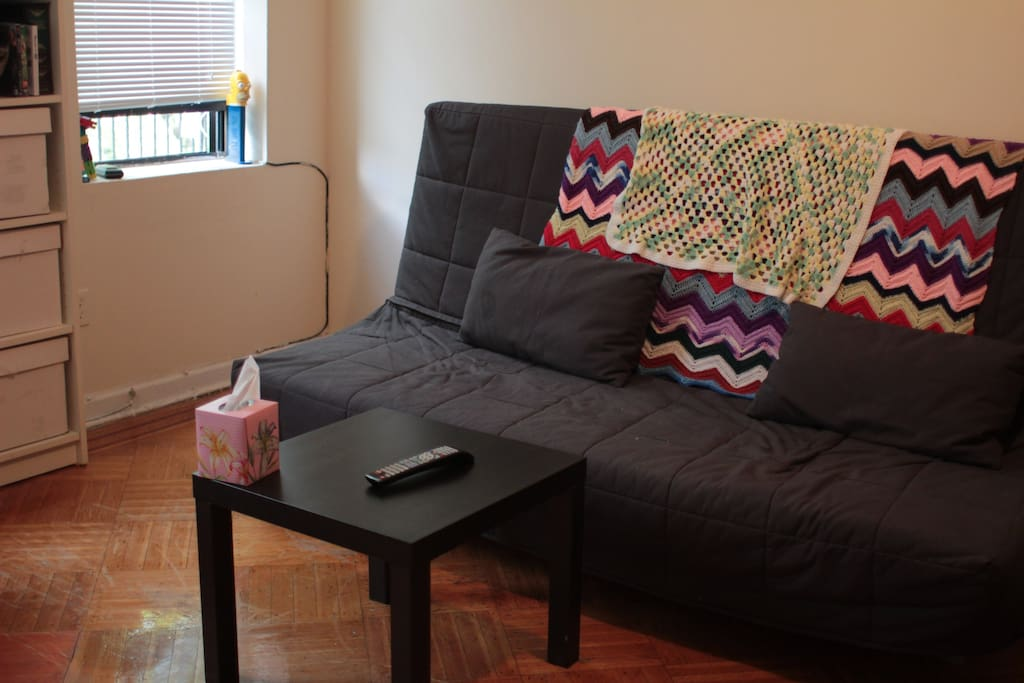 Our futon also folds out into a large bed if you want to be lazy and watch a movie while you go to sleep.