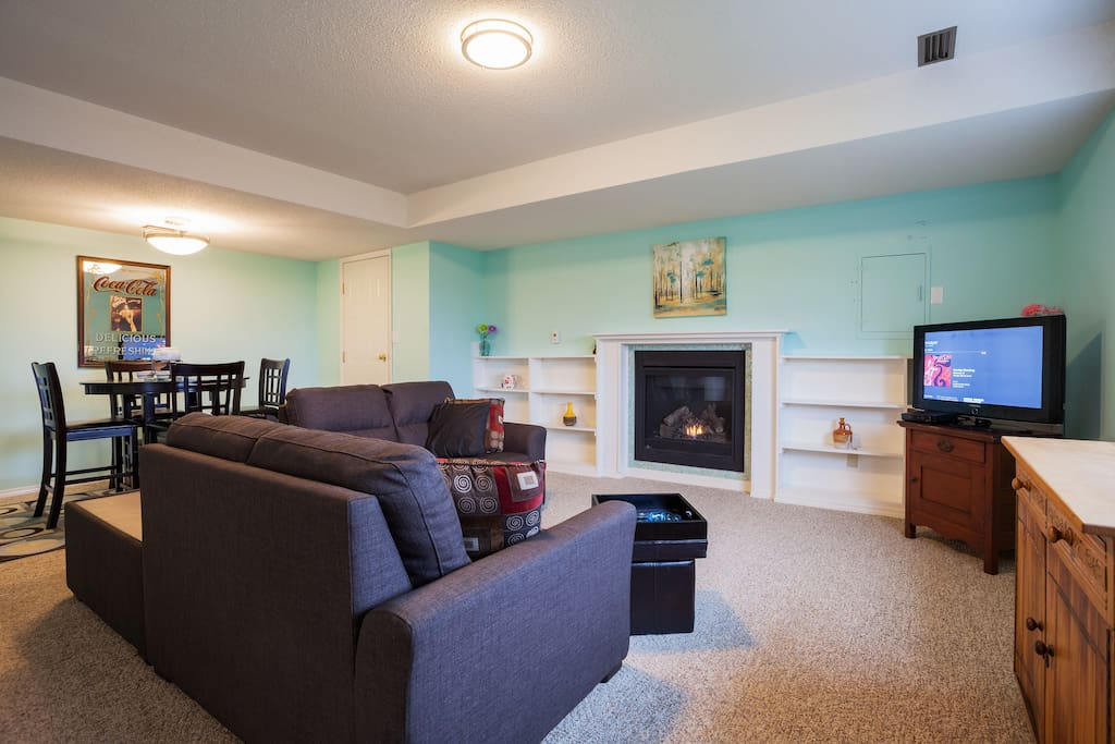 roomy and cozy with gas fireplace