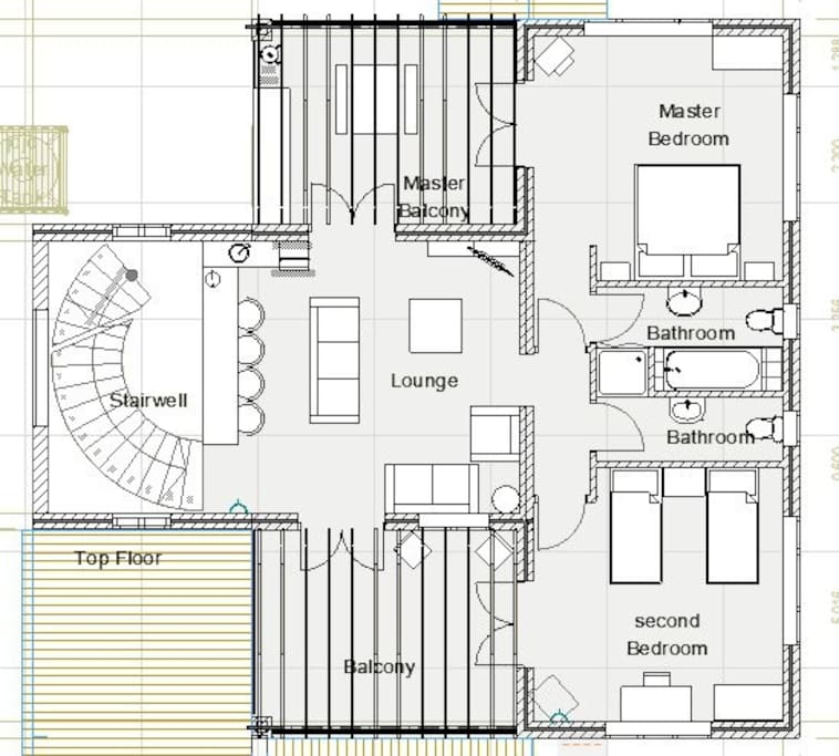 plan of the upstairs apartment layout