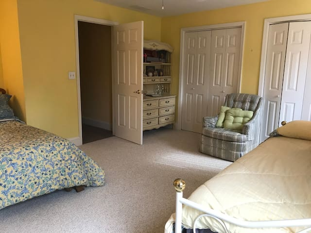 Large bedroom with shared jack and Jill bathroom.  1 daybed.  1 double bed.1 pull out Emma single bed- a memory foam mattress.