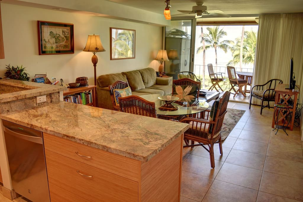 Living area open to kitchen with amazing ocean view