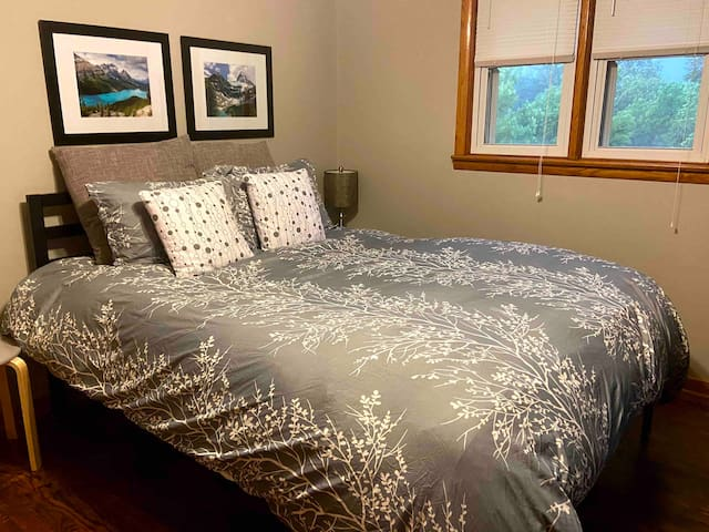 Comfortable guest room with great patio space