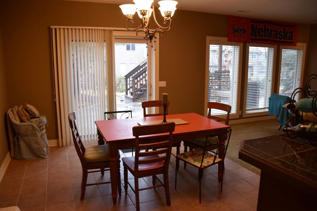 basement dining room w/ access to back yard