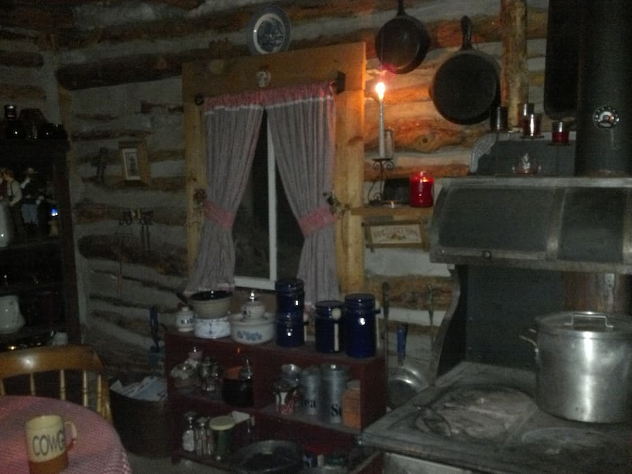 Rough log cabin living. Home comfort coal and wood cook stove has been moved out as of 2018. Looking for someone to help clean and do some construction while staying at the cabin.