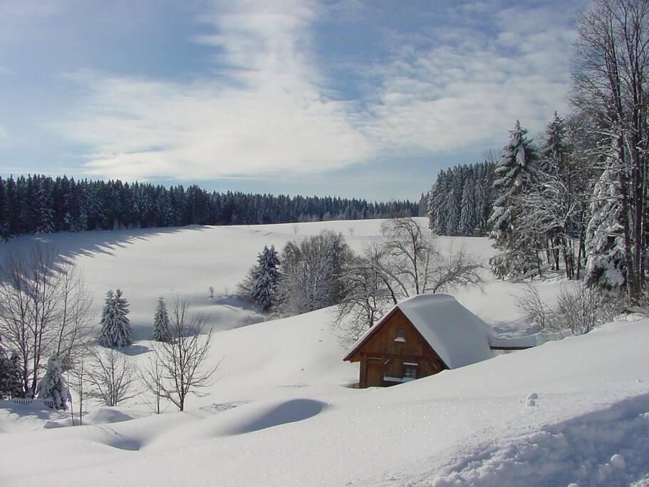 Winterlandschaft am Bauernhof