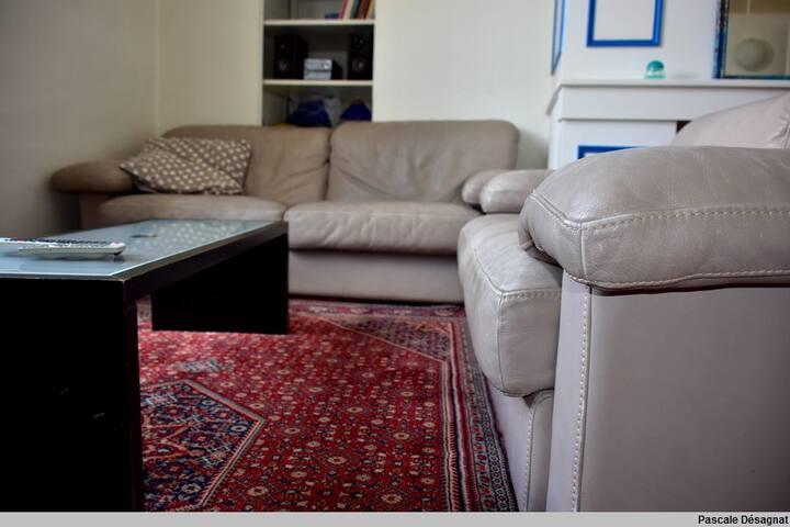 canapé en cuir, grand tapis, pour des soirées conviviales et confortables