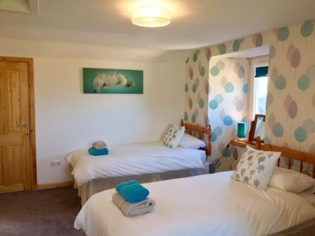 Orchid room on first floor - 2 x single beds (plus futon) with view to front and side - possible view of  St Andrews West Sands beach.